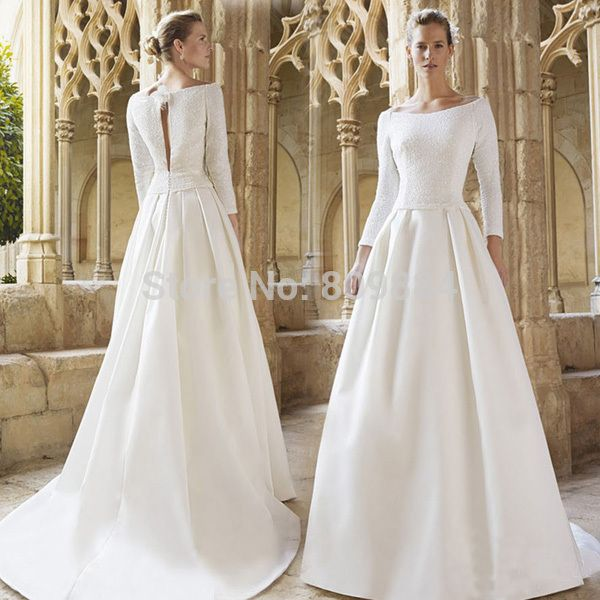 Spectacular Find More Wedding Dresses Information about High Neck Wedding A Line Chiffon and Satin Lace