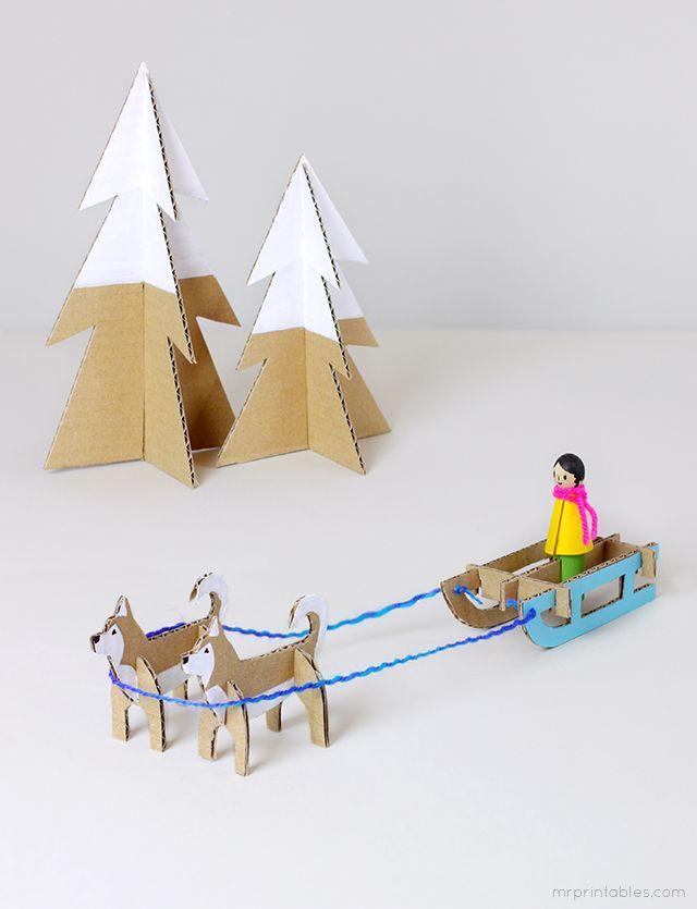 Free printable templates for Peg dolls and Winter Wonderland - Mr Printables