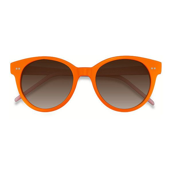 Women's Angie - Orange round - 12337 Rx Sunglasses (2,245 INR) ❤ liked on Polyvore featuring accessories, eyewear, sunglasses, round glasses, orange glasses, rounded glasses, etched glasses and round sunglasses