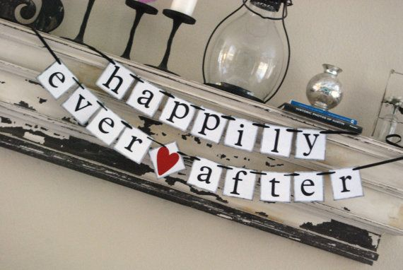 HAPPILY EVER AFTER Wedding Banner Sign Garland Bunting- Photo prop or decoration. $23.50, via Etsy.