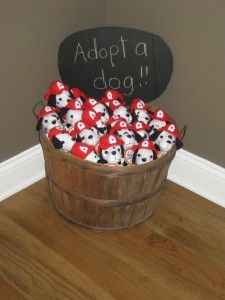 "adopt a dog- perfect way to tie into a ""donations for animal shelter only/firetruck"" themed birthday party. What a GREAT idea!"