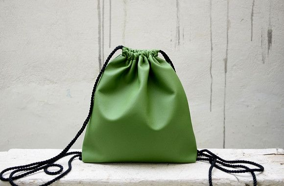 Backpacks – Green Drawstring Backpack. – a unique product by Loutik on DaWanda