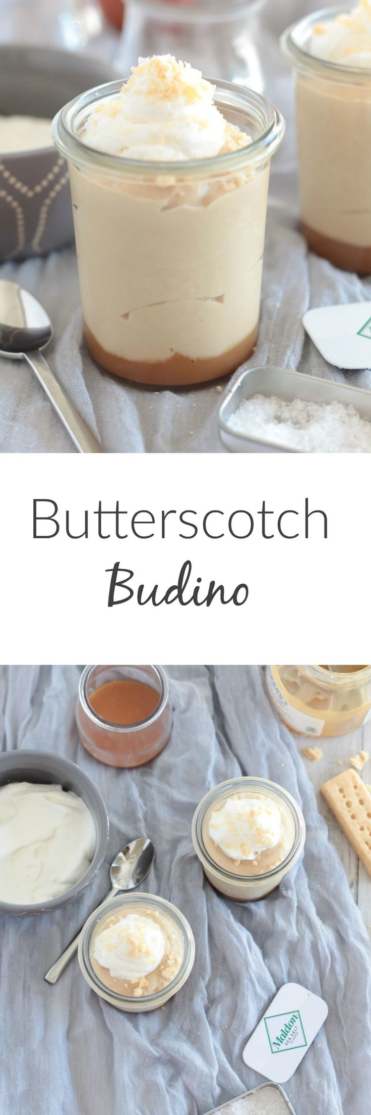 This luscious version of Butterscotch Budino comes with a layer of salted caramel on the bottom and salted shortbread cookie crumbles on top.