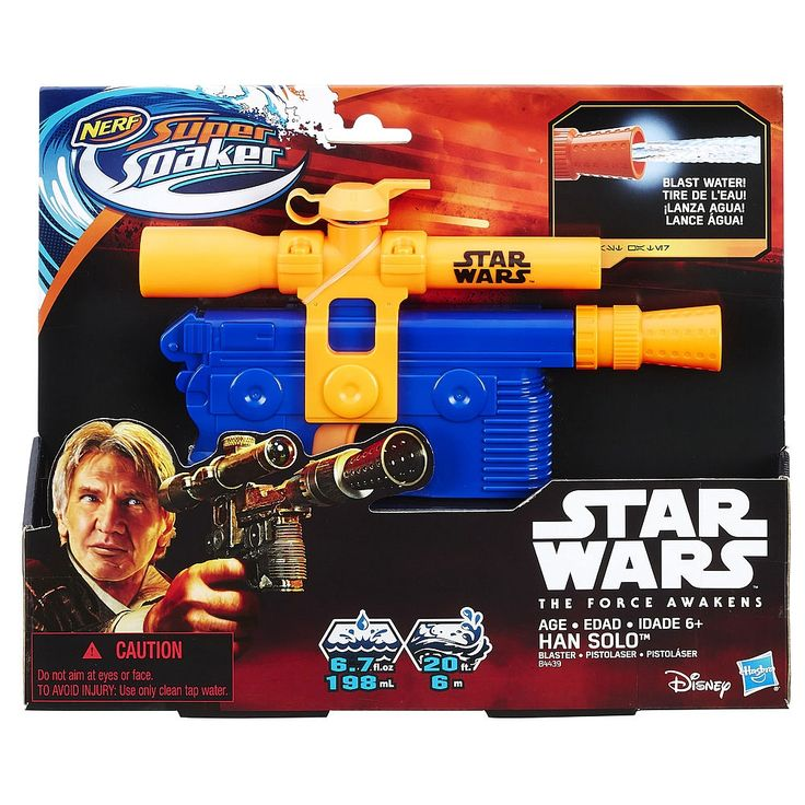 Nerf Super Soaker transpose tout le plaisir des batailles d'eau dans l'univers Star Wars! Les joueurs s'amuseront à arroser leurs ennemis dans des batailles galactiques grâce au foudroyeur à eau de Han Solo. Ils plongeront dans l'action en incarnant l'héroïque Han Solo, viseront et détremperont leurs adversaires. Le foudroyeur à eau contient 198 ml d'eau et il a une portée de 6 m. <br><br>Les produits Star Wars sont produits par Hasbro avec l'autorisati...