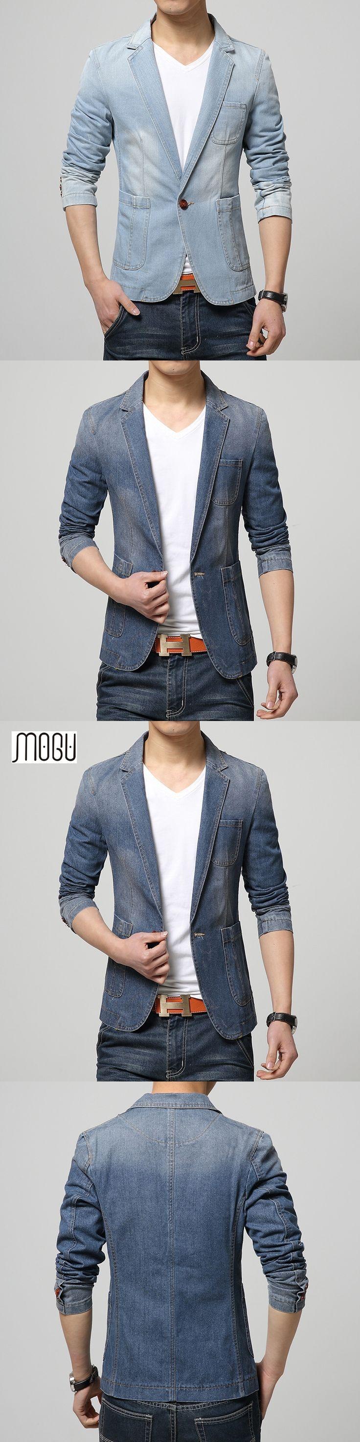 New Arrival Denim Blazer Men Cotton One Button Mens Blazer Jacket Blue Jeans Jacket Men Blazer Slim Fit