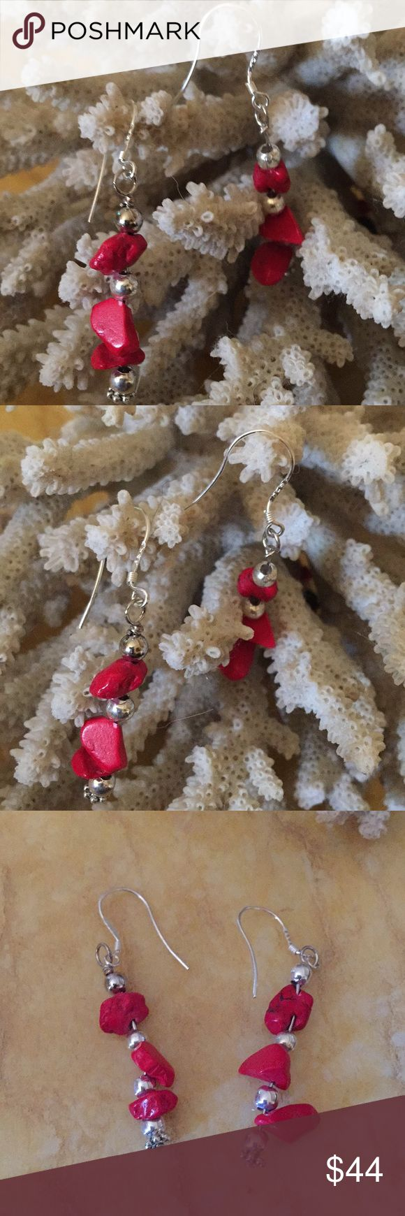 "925 coral earring Beautiful marked 925 red coral earring 2"" long coral earring Jewelry Earrings"