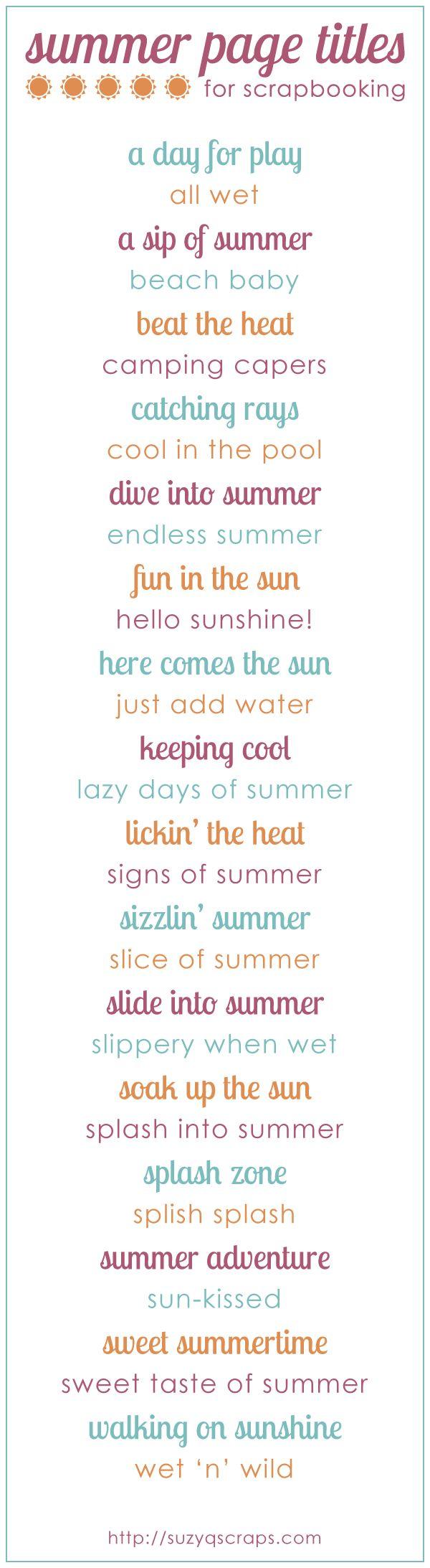 summer scrapbook idea   summer scrapbook page titles