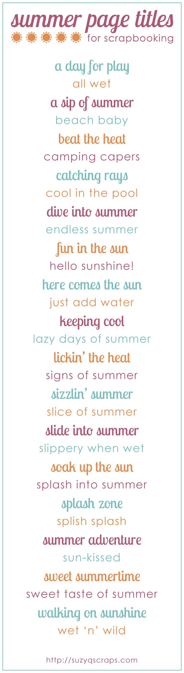 summer scrapbook idea | summer scrapbook page titles