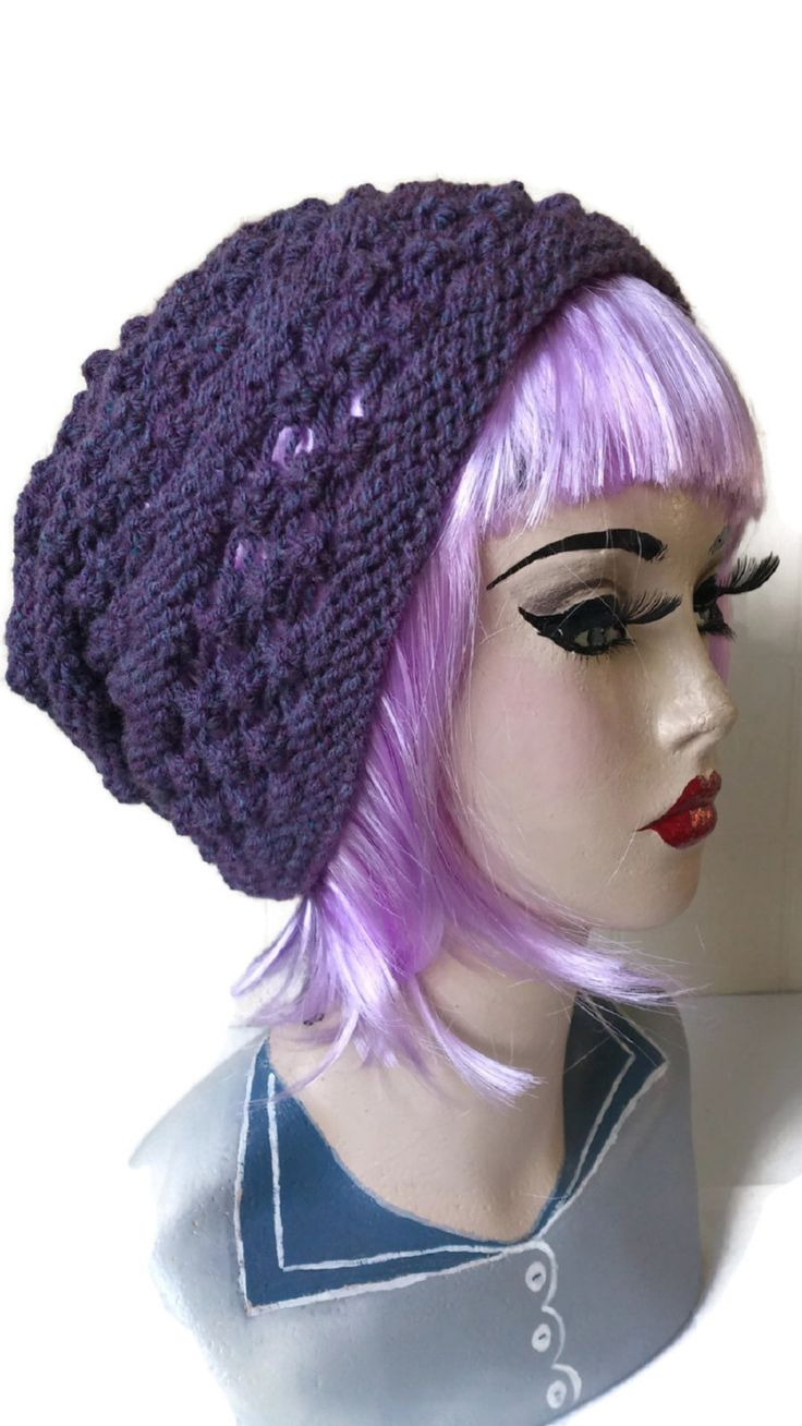 Blackberry Slouchy Hat Beanie  Winter Purple Rockabilly Clothing Retro Aran by thekittensmittensuk on Etsy
