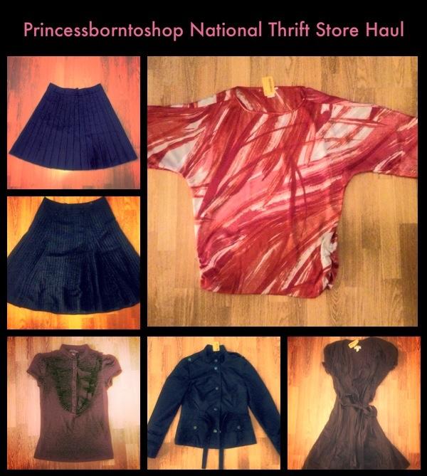 National Thrift Store Haul 1. Club Monaco Skirt $7.99 2. H Skirt $7.99 3. Suzy Shier Blouse $5.98 4. Forever21 Jacket $8.99 5. Ann Taylor Dress $8.99 6. Jones of New York Blouse $5.99 Total Spent: $45.99 Great clothing haul!