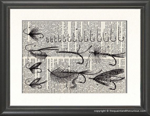 Fly Fishing Lures Print Vintage Book Page   Beautifully Matted Graduation  Gift Present Home Office Decor