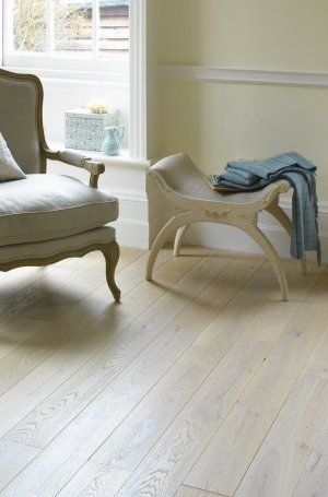 Broadleaf Bleached Oak Flooring, perfect for Scandinavian styled rooms or pretty country inspired interiors. Available in a choice of widths in solid and engineered options. For more information call 01269 851 910 or visit our website