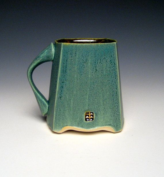 Square Green Mug by nickdevriespottery on Etsy, $26.00  love the handle shape and the chop placement