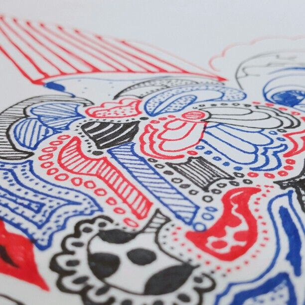 100 pieces! Red.. Black.. Blue.. doodle.. drawing.. with pen..