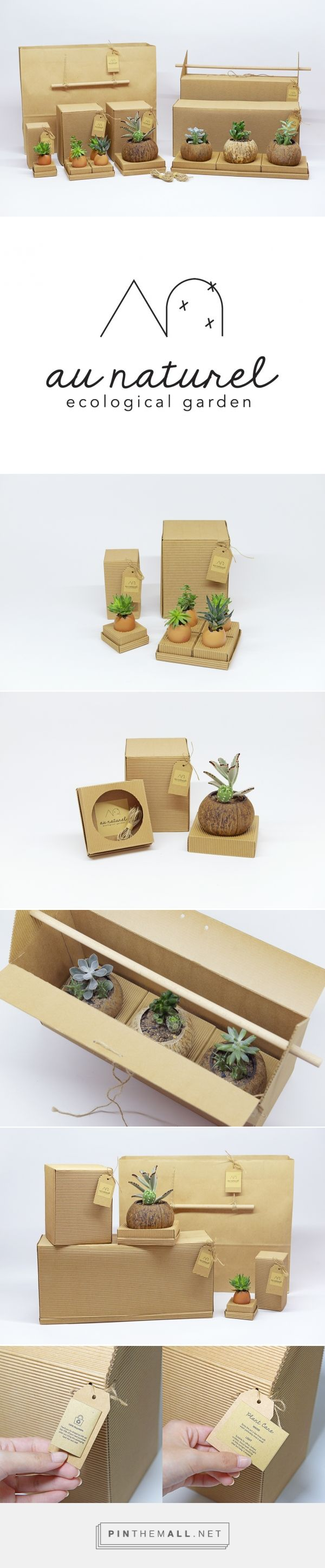 Branding, graphic design and packaging for Au Naturel | Ecological Garden on Behance by Tan Lixing Singapore, Singapore curated by Packaging Diva PD. Plants are packed in a system of kraft packaging boxes so your plants will be protected and safe during transportation. Class project.