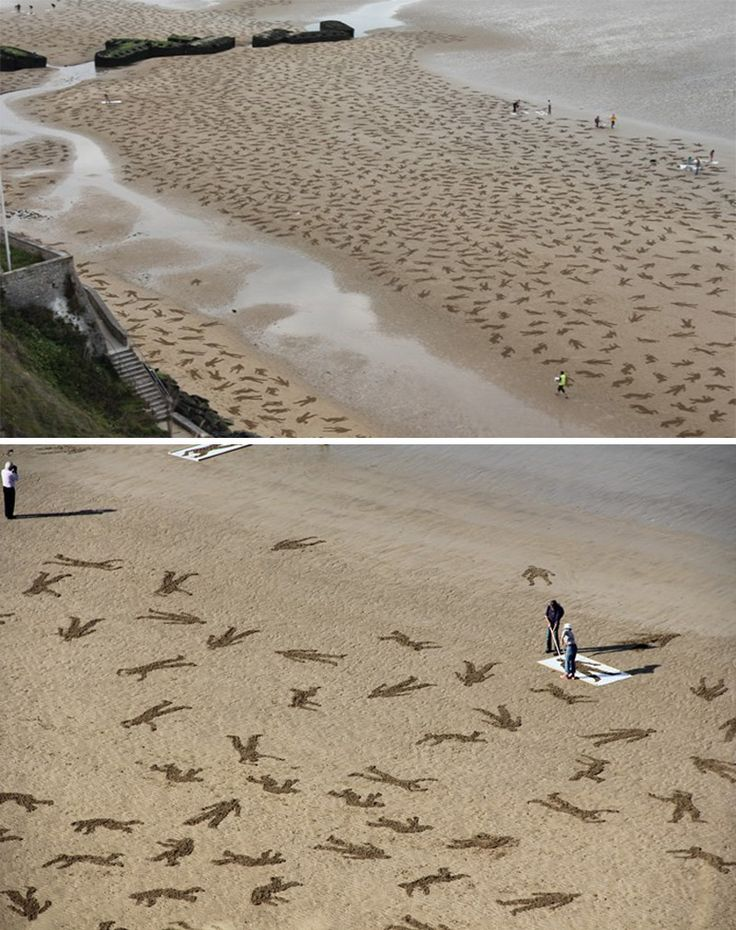 The Fallen 9000 at Normandy. British artists Jamie Wardley and Andy Moss etched 9,000 silhouettes in the sand to commemorate D-Day.