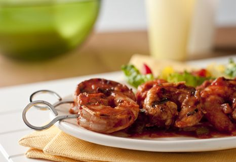 Sweet and spicy shrimp are grilled with a generous coating of Pace® Picante Sauce, brown sugar, tomato and lemon juice.
