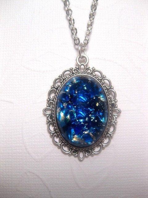 Cornice fantasia Galaxy blu acqua giapponese opale ciondolo collana