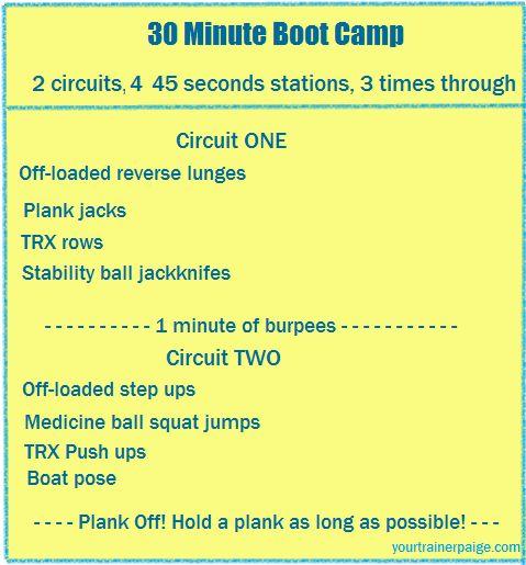 30 minute bootcamp workouts fitness pinterest. Black Bedroom Furniture Sets. Home Design Ideas