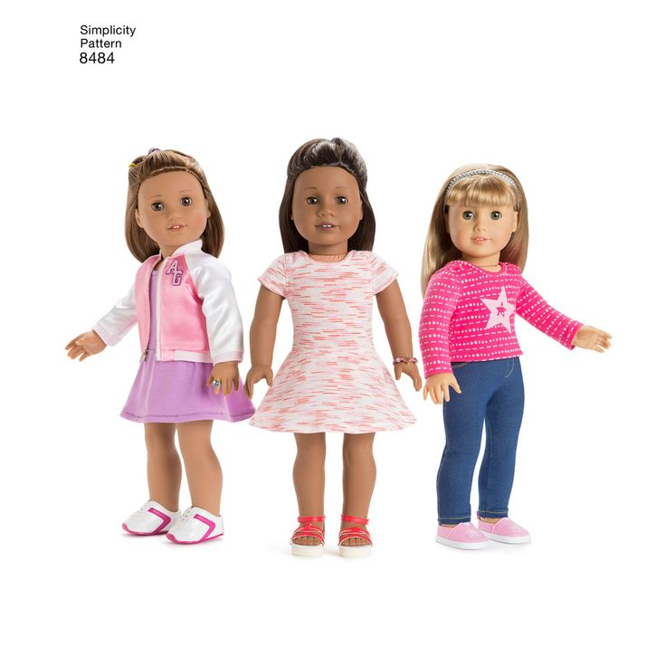 """Make these adorable American Girl 18"""" doll clothes, including trendy bomber jackets with dress, top and jeans. American Girl for Simplicity sewing patterns."""
