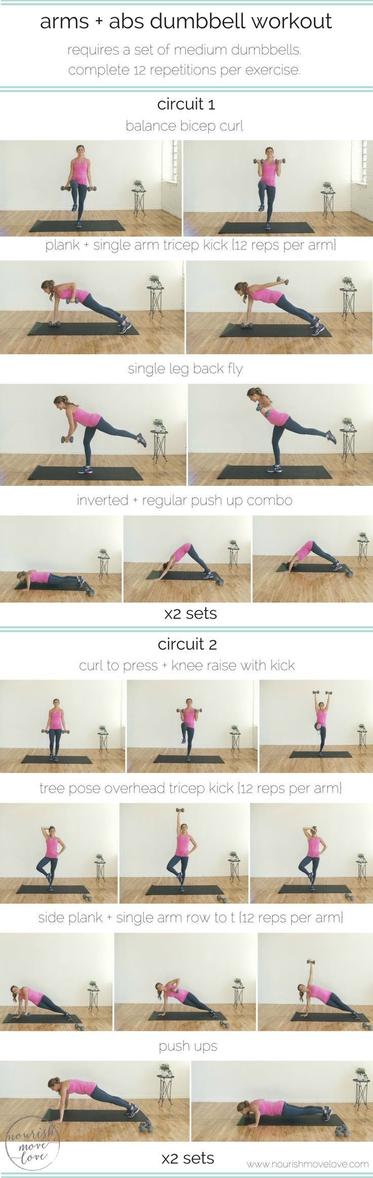 arms + abs dumbbell workout. Compound upper body + core exercises. Balance-based exercises using medium weight dumbbells. Circuit workout for home or gym. 30 minutes or less for a full body workout. Upper body, lower body exercises. Bicep, tricep, shoulders, back, core. | www.nourishmovelove.com