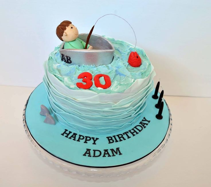 Fishing theme birthday cake by emma alyson cake company for Fishing themed cakes