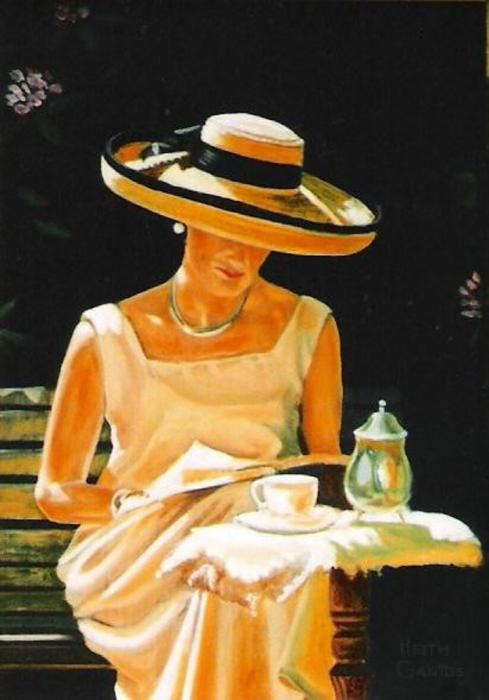 """""""Quiet Time"""": Keith Gantos    This was a warm summer day. My wife is reading during tea time. She kindly modeled for this. Oct. 2008"""