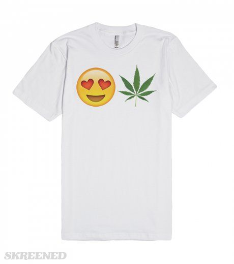 Weed Emoji Love | Emoji loves weed. Don't you? If so this is the shirt for you! Share your love of marijuana with the world with this hilarious tee! #marijuana