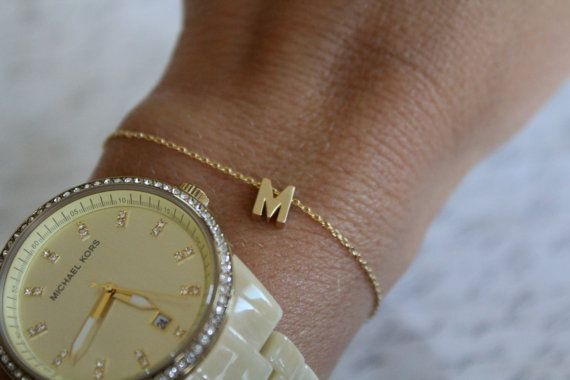Tiny Gold Initial Bracelet...Small Initial by brinandbell on Etsy