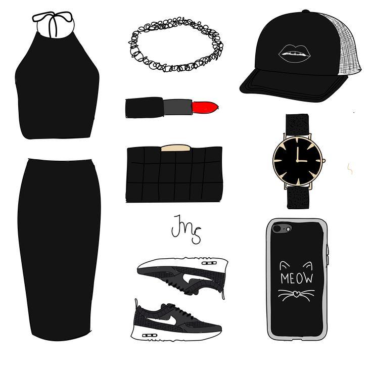 Deze outfit inspiratie is all black, zoals je ziet. Ik vind zwart altijd een heerlijke kleur en dan vind ik het vaak vooral leuk om te combineren met een lekkere, rode lippenstift.  Horloge: Cluse Schoenen: Nike