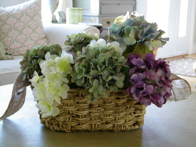 Hydrangeas in basket floral arrangements and