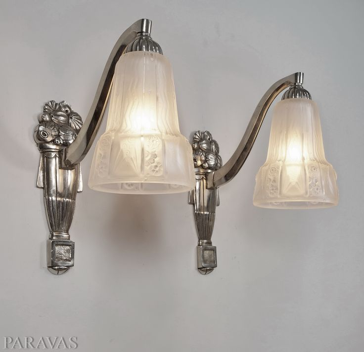 Muller freres 1930 artd eco wall sconces nickel on bronze and moulded pressed muller