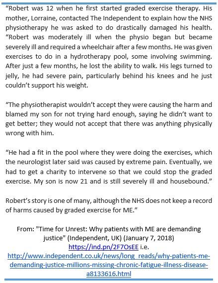 """An example of one of the many people with #MyalgicEncephalomyelitis who have been damaged by an exercise program yet invariably this is not officially recorded anywhere.  From """"Time for Unrest: Why patients with ME are demanding justice"""" http://www.independent.co.uk/news/long_reads/why-patients-me-demanding-justice-millions-missing-chronic-fatigue-illness-disease-a8133616.html  #MEcfs #CFS"""