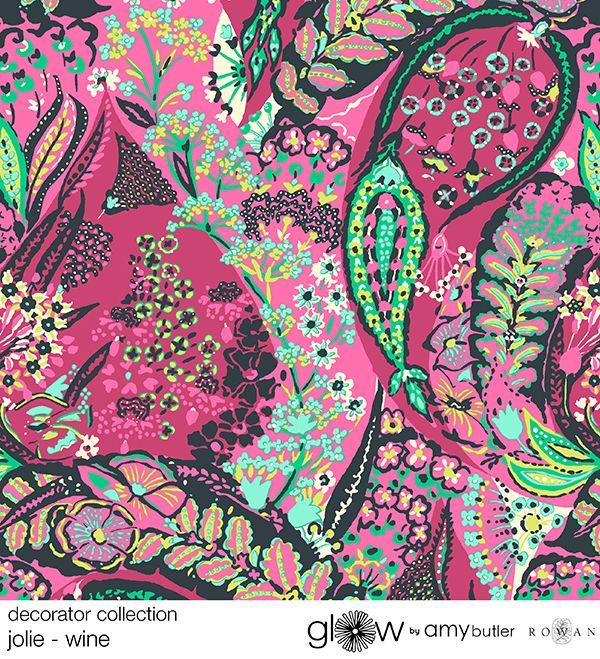 Amy Butler's Glow Decorator Sateen Fabrics - Jolie in Wine