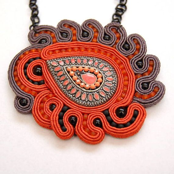 Red Fox handmade soutache necklace by martazare on Etsy, $65.00