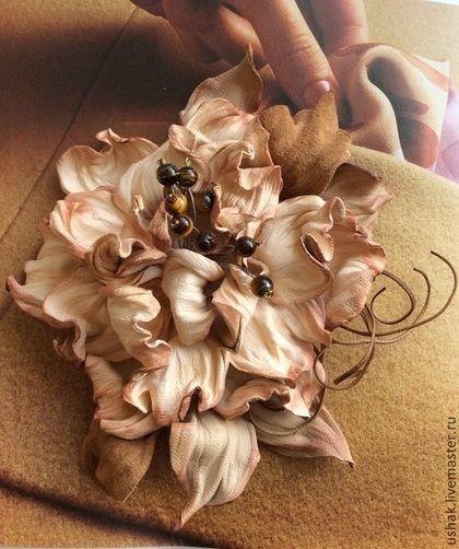 Броши ручной работы. Ярмарка Мастеров - ручная работа. Купить КРЕМ - БРЮЛЕ  цветок из кожи. Handmade. Бежевый, брошь