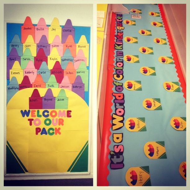 My first Kindergarten bulletin board #education #colorful #proud