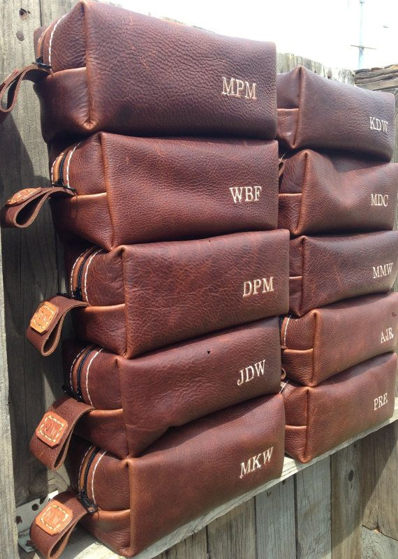 HANDMADE Men's Leather Toiletry Case Dopp Kit Shaving Bag OOAK Groomsmen Present Groomsman Gift Wedding Groom Lifeless Leather Co Cognac Bag on Etsy, $75.00