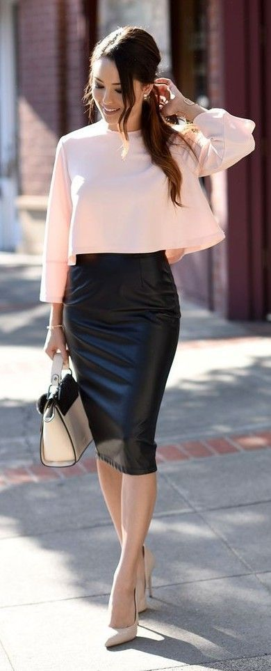 Polished Pink Long Sleeve Top, Black Leather Midi Skirt, pink And Black Bag, Cream Pointy Heels | Hapa Time