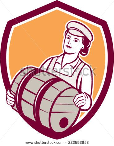 Illustration of a female bartender worker carrying keg set inside shield crest on isolated  background done in retro style.  - stock vector #mother #retro #illustration
