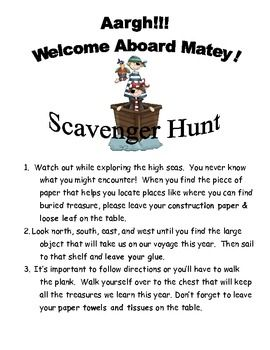 Back to School Pirate Scavenger Hunt - to use at Meet the Teacher night. I talk to parents while the kids do the scavenger hunt to put up supplies