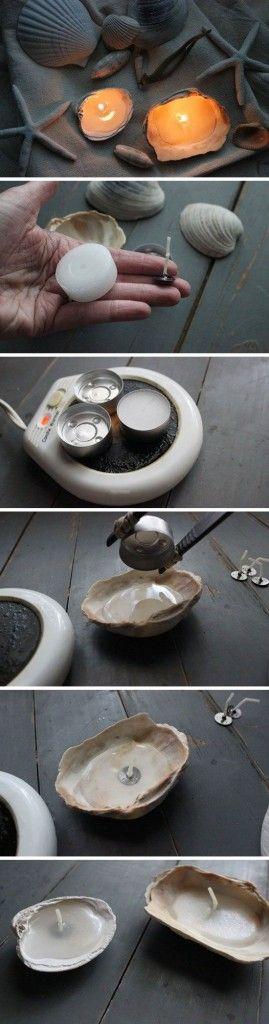 Sally Lee by the Sea   DIY Seashell Candles!!   http://nauticalcottageblog.com
