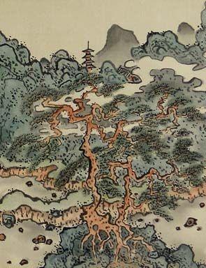 Fukuda Kodojin (1865-1944), Hanging Scroll. Ink and color on silk. (detail).