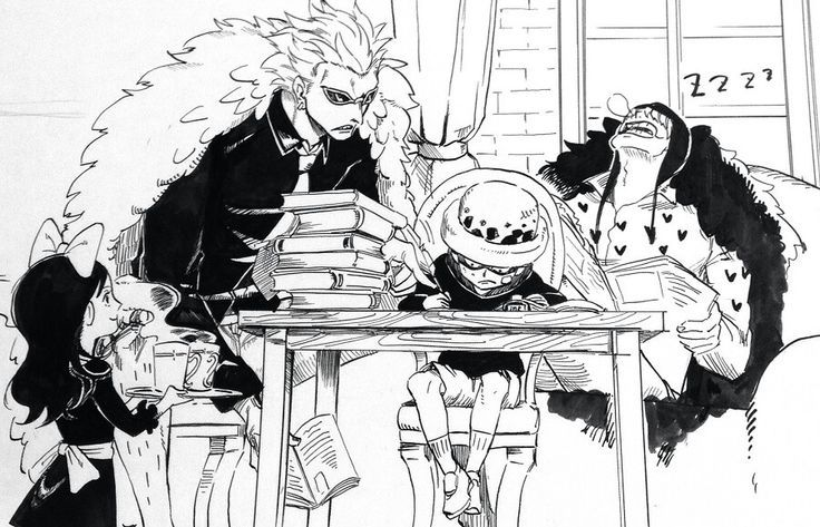 Donquixote family. Even though Doflamingo is terrible I think it's cute that's he's taking time to teach little law