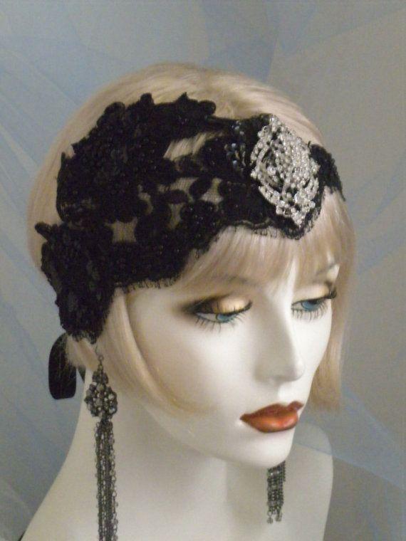1920s Headpiece Flapper Headband Black By