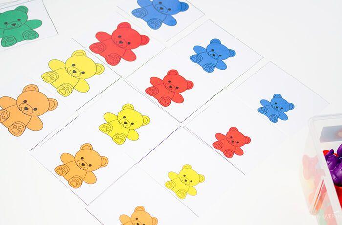Rainbow Bear Cards Size Order Cards Math Activities Preschool Rainbow