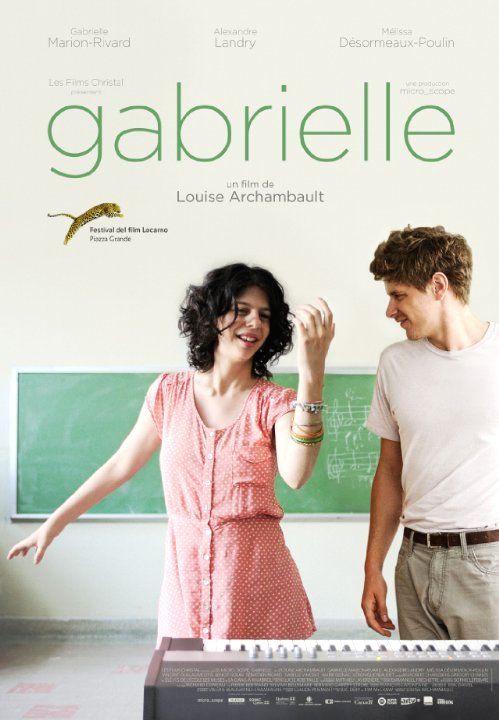 """Gabrielle -  Louise Archambault 2013 -- """"Gabrielle & Martin tombent fous amoureux l'un de l'autre. Mais leur entourage ne leur permet pas de vivre cet amour comme ils l'entendent car Gabrielle & Martin ne sont pas tout à fait comme les autres. Déterminés, ils devront affronter les préjugés pour espérer vivre une histoire d'amour qui n'a rien d'ordinaire."""""""