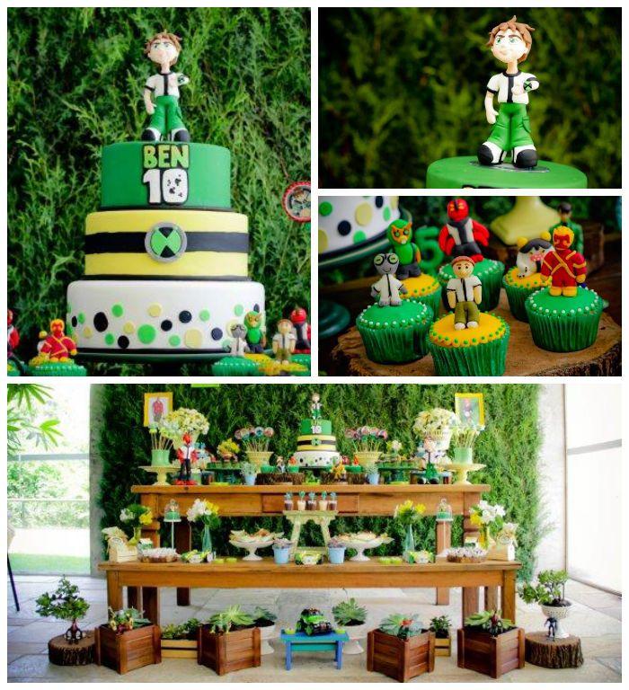 Ben 10 themed birthday party with Lots of Really Fun Ideas via Kara's Party Ideas! Full of decorating ideas, cakes, cupcakes, favors, printa...