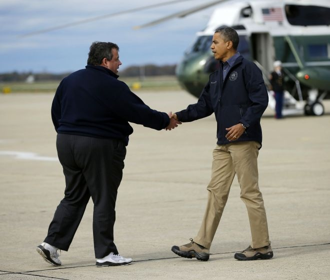 President Obama Greets Governor Christie. (With Images