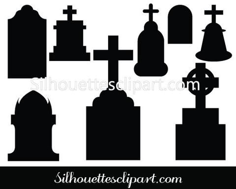 Tombstone Silhouettes Vector